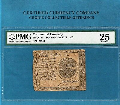1778 $ 20 Continental Colonial Note CC-82 PMG Very Fine 25 Nice Collectible
