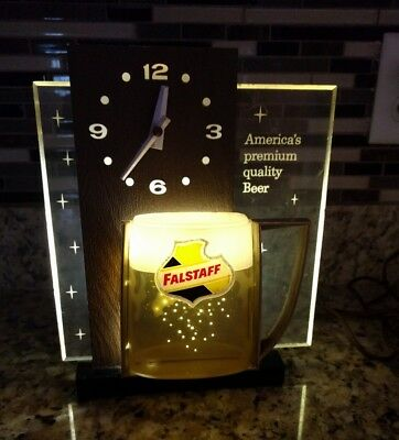 FALSTAFF BEER Light Up Advertising Table or Wall Clock vintage works!