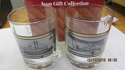 Vintage Avon America On The Move Collection Set 2 Glasses NIB ROBERT E. LEE MORE