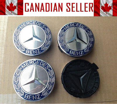 Set of 4 Mercedes Dark Blue Wheel Center Caps 75mm - FITS ALL MODELS