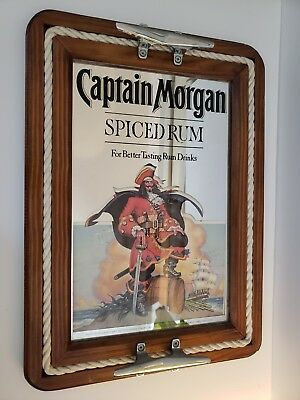 "Captain Morgan SPICED Rum Bar Mirror 16"" X 22"" Nautical Server Tray Wall Sign"