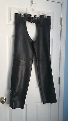 US MADE CO Danvers, MA Leather Motorcycle Rider Chaps Size Not Shown Made in US