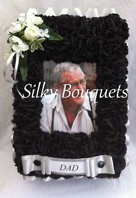 Artificial Silk Funeral Flower Photo Frame Tribute Memorial Dad Mum Nan Wreath