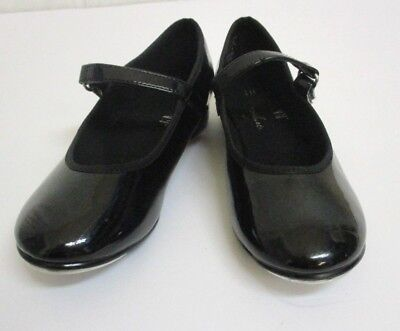 Girls Size 10 ABT Black  Leather Velcro Closure Tap Shoes