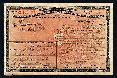 Prohibition Prescription Whiskey Pharmacy Doctor Bar MA Vintage 1925 Florence Rx