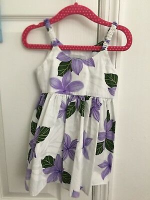 1-2 Year Hawaiian Floral Dress With Stretchy Straps And Tie Back