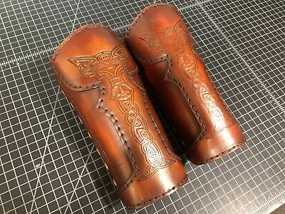 Leather Bracers 9 inch handmade Viking wolf knotwork embossed antiqued finish