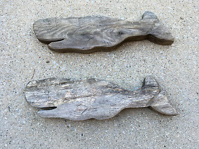 """2 vintage whales carved wood wall plaque 21"""" unfinished driftwood?"""