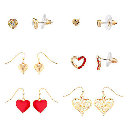 Lux Accessories Gold Tone Assorted Heart Shaped Red Crystal Stud Earrings Set