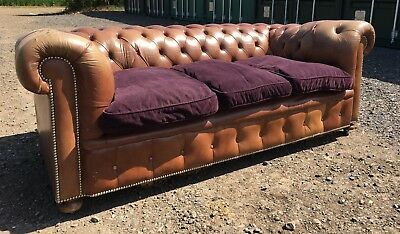 Fabulous Rare Tan Leather Vintage Chesterfield Sofa Brown Leather