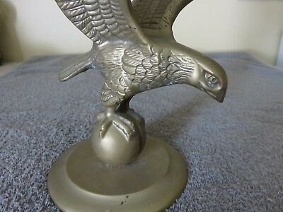 "Vintage  Brass Eagle on Ball and Base 10 1/2"" Tall-Beautiful Detail-MUST SEE"