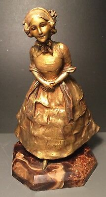 """French Gilt-bronze Figure of Young Girl (V. Bissen) marked """"Bronze A.G. Paris"""""""