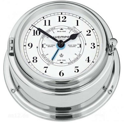 Ship's Clock Bremen II Brass Chrome Plated with Tide Pointer, Watch, bootsuhr by