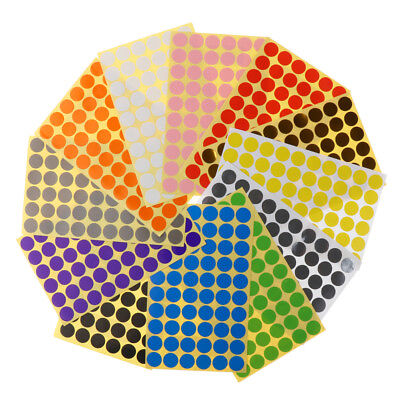 15mm Coloured Dot Stickers Round Spot Circles Dots Paper Labels *12 COLOURS