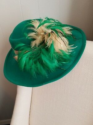 Vintage Jack McConnell Boutique Green Feather Church Hat 100% Wool Esccello