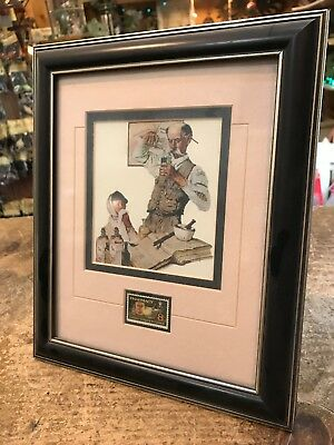 Norman Rockwell Framed Matted Print Pharmacist 8 Cent Stamp