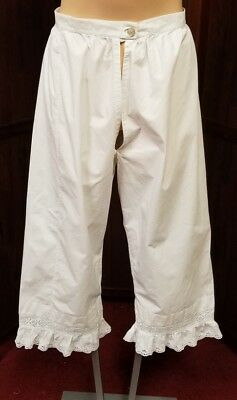 "Authentic antique ladies cotton bloomers pantaloons late 1800s 25"" waist"