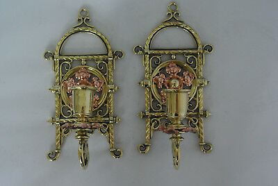 Pair Victorian Aesthetic Movement Gothic brass wall candlesticks C110