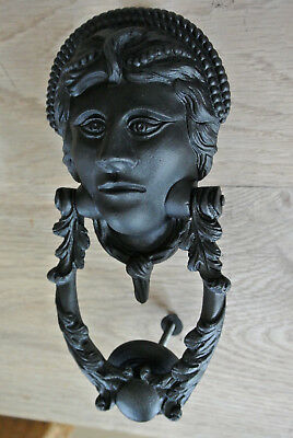 Fine Early Victorian cast iron door knocker and strike
