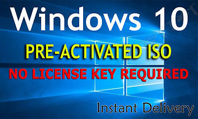 Microsoft Windows 10 PRE-ACTIVATED ISO (NO LICENSE KEY REQUIRED) lifetime