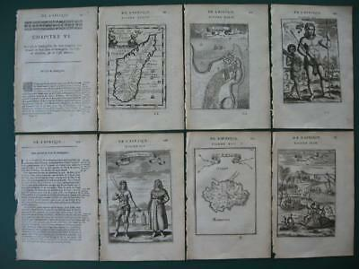 1683 - MALLET - Set maps and engravings MADAGASCAR  REUNION  MAURITIUS