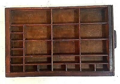Vintage Original Wall Hanging Wood 21 Compartment Hamilton Printer's Tray