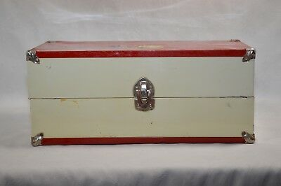 """15"""" Doll Wardrobe Metal Trunk Carry Case W/ Clothes Union Pacific Railroad decal"""