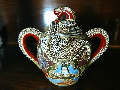 Antique Japanese Moriage Satsuma Tea Sugar Pot w Lid Red & Gold Immortals Dragon