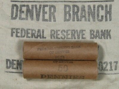 (ONE) FRB Denver Lincoln Wheat Cent Penny Roll Old US Coins 1909-1958 P D S (82)
