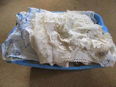 About 70 pieces vintage lace/crochet doilies,hand embroidery,runners,mats,collar