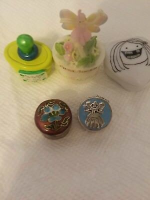 Tooth Fairy 1St Tooth Boxes Lot Of 5 Micro Mini Porcelain Heart 2 Metal Round