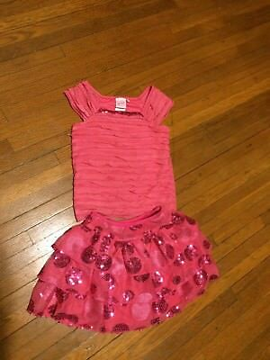 Girls Skirt Outfit Pink Ruffles Layered Sequin size 5