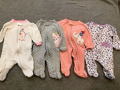 Lot Of 4 Newborn baby girl sleepers Zip Up Pajama Sleeper Nightgowns
