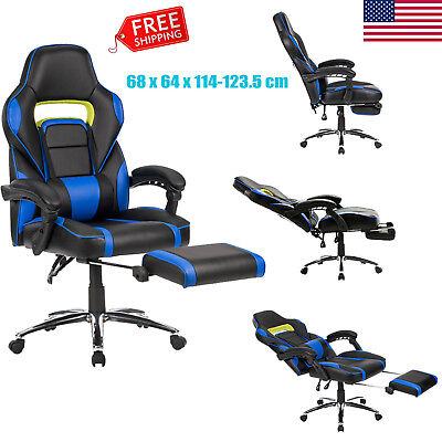 Ergonomic High-Back Faux Leather Computer Gaming Executive Office Chair+Footrest