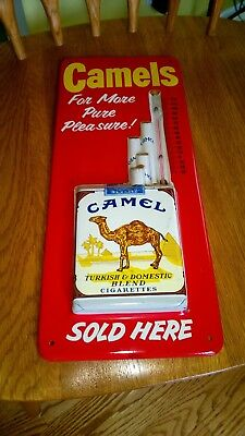 Original 1960s CAMEL CIGARETTES Tin Embossed Advertising Thermometer Sign NM!