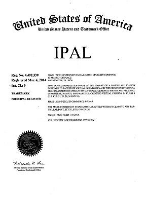 Trademark iPal, Website, Application Games, Listed in Apple and Google Stores!!!