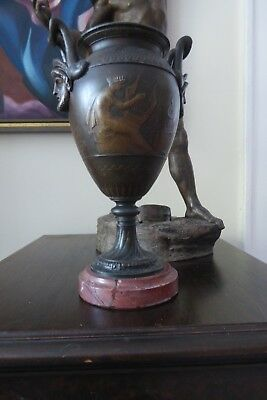 Antique French Spelter Urn with Round Marble Base Neoclassical