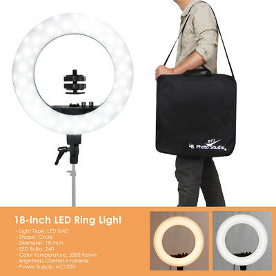 """50W 240PCS LED Ring Light 18"""" Outer 5500K Dimmable+Universal Adapter w/US Plug"""