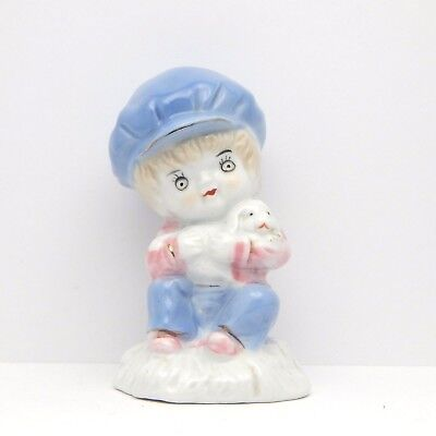Collectible Figurine Seated Boy Holding Blue Hat Puppy Dog Porcelain Ceramic