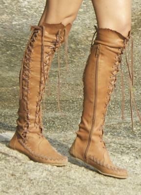 Vintage Boots bohemian Leather- Knee high Burning Man Festival