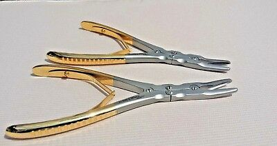"""Set of 2 Ruskin Bone Rongeur Curved 7"""" Surgical Vet Orthopedic Instruments CE."""