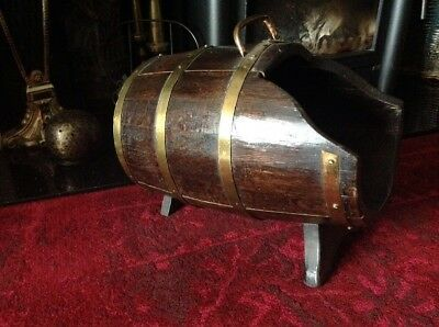 Antique Solid Oak And Brass Coal Scuttle,log Basket, Fireside Barrel.