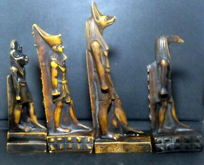 4 Ancient Egyptian Statue Figurine God Anubis Sculpture Decor Pharaoh Black King