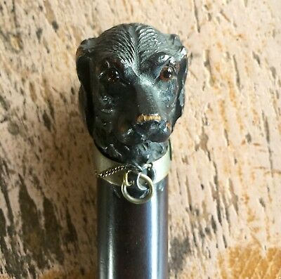ANTIQUE 19th CENTURY FIGURAL PAPER KNIFE LETTER OPENER WOOD DOG GLASS EYES