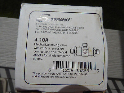 "Symmons 4-10A Thermostatic Mixing Valve 3/8"" compression connections"