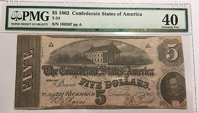$5 1862 Confederate States Of America Note T-53 PMG XF40