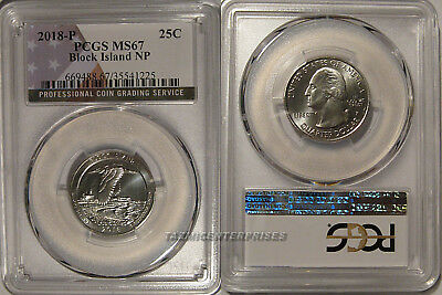 2018 P Block Island NP Quarter 25c PCGS MS67 USA Flag