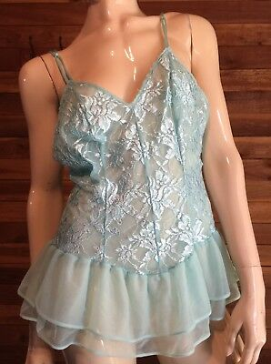 Vintage Romantic Moods Aqua Size Large Babydoll Nightgown