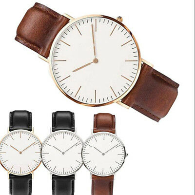 Fashion Men Women Leather Casual Watch Analog Round Business Quartz Wristwatch #