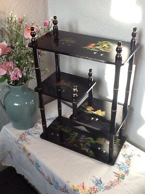 Gorgeous Vintage Japanese Lacquered Hand painted Display Curio Shelves #3945